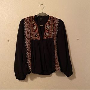 """anthropologie """"blank"""" embroidered blouse"""